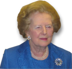 Baroness Thatcher in Pearls and a Gemstone Brooch